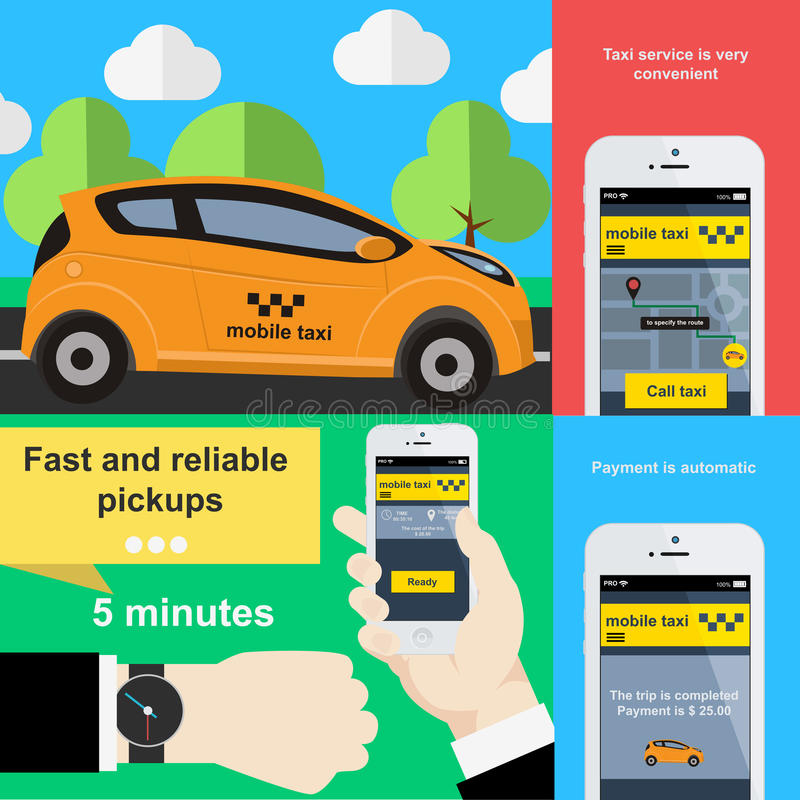 Mobile phone application to book taxi service. Vector illustration in flat design vector illustration