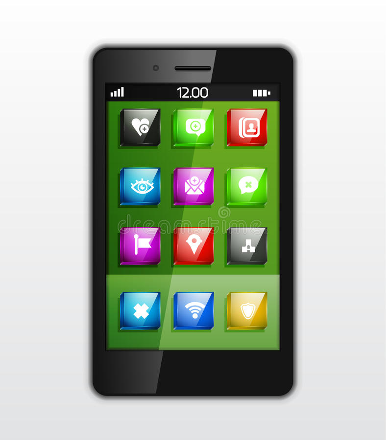 Mobile phone applications vector concept stock illustration