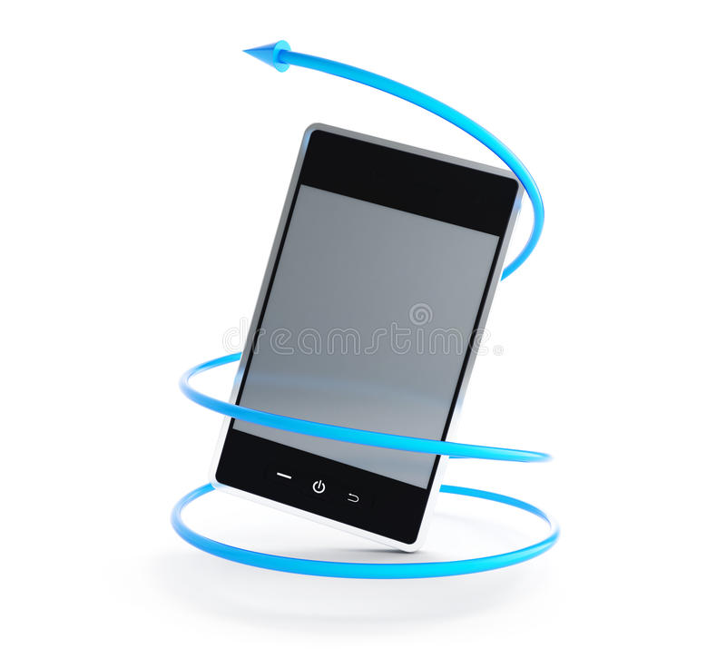 Mobile Phone Arrow In A Spiral Royalty Free Stock Image