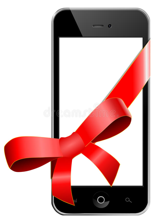 Download Mobile phone as a gift stock illustration. Image of blank - 34402806