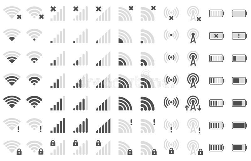 Mobile phone bar icons. Smartphone battery charge level, wifi signal strength icon and network connection levels. Pictogram. Device power indicating or vector illustration