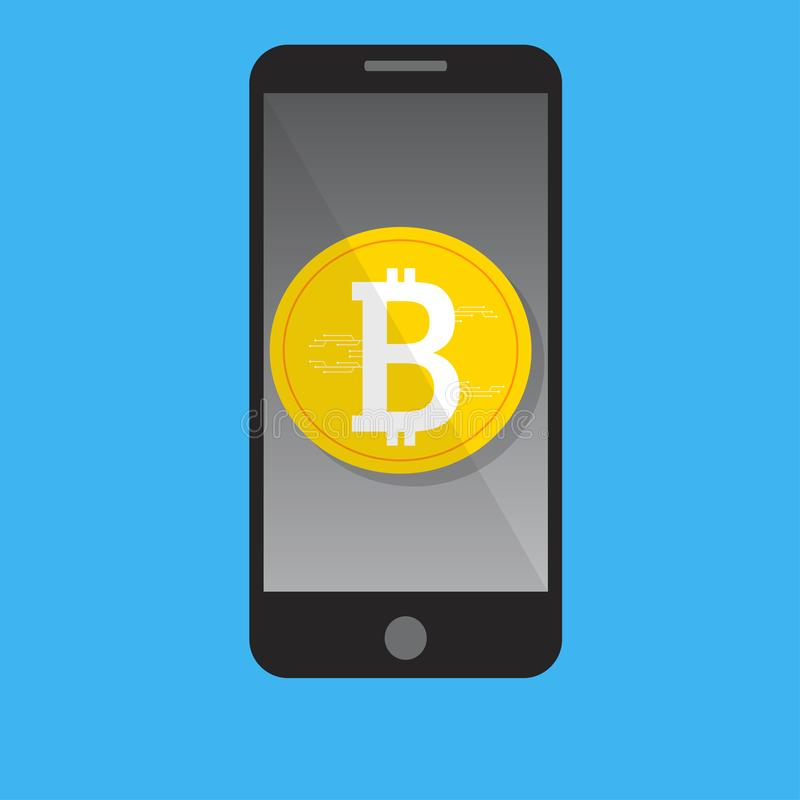 Mobile phone bitcoin payment concept stock illustration