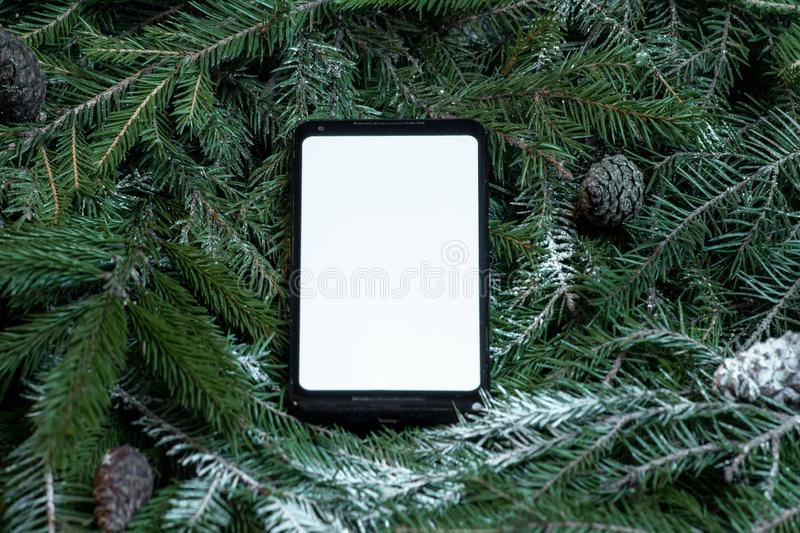 Mobile phone with blank screen on christmas tree branches with frost, new year decoration and celebration concept. stock image