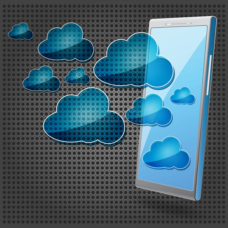 Mobile phone with blue cloud computing icons. On the metallic background vector illustration