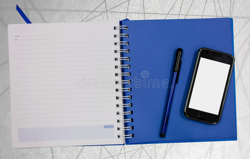Mobile phone blue diary book abstract line background royalty free stock photo