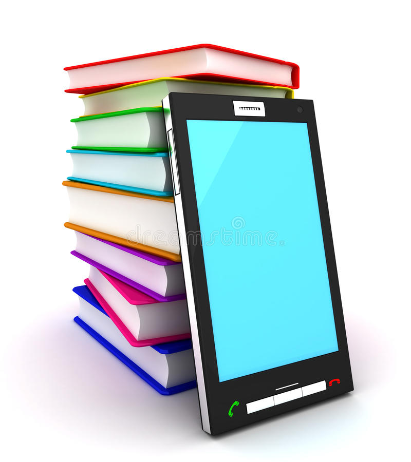 Mobile phone and books stock illustration