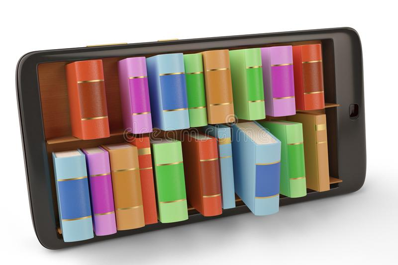 Mobile phone with bookshelf e book library concept 3d illustration. stock image