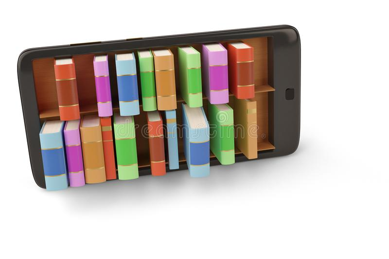 Mobile phone with bookshelf e book library concept 3d illustration. stock photo