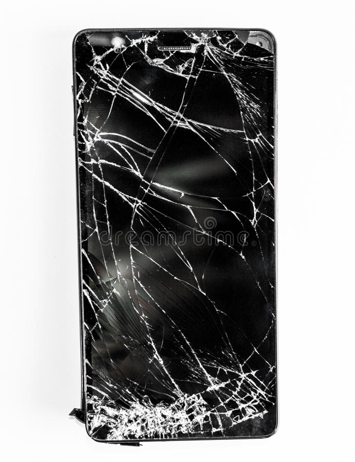 Mobile phone with broken screen royalty free stock photo