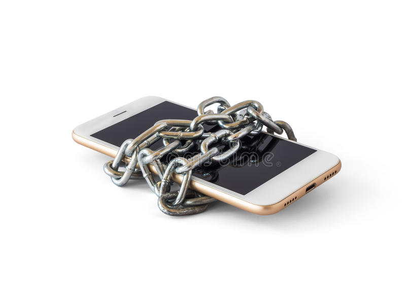 Mobile phone with chain locked isolate. Modern mobile phone with chain locked isolate on white background with clipping path. Concept of social network issues royalty free stock image