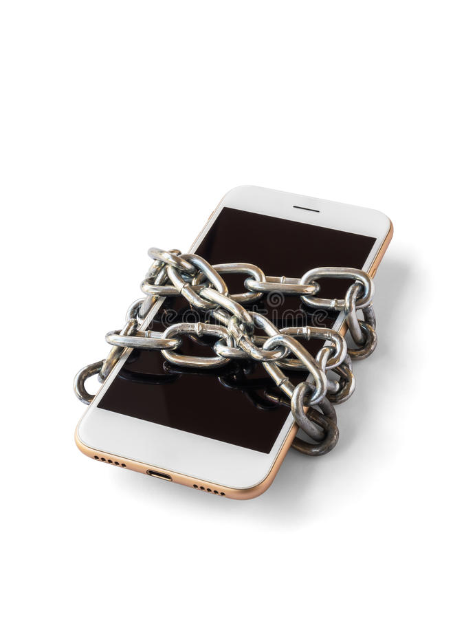 Mobile phone with chain locked isolate. Modern mobile phone with chain locked isolate on white background with clipping path. Concept of social network issues royalty free stock images