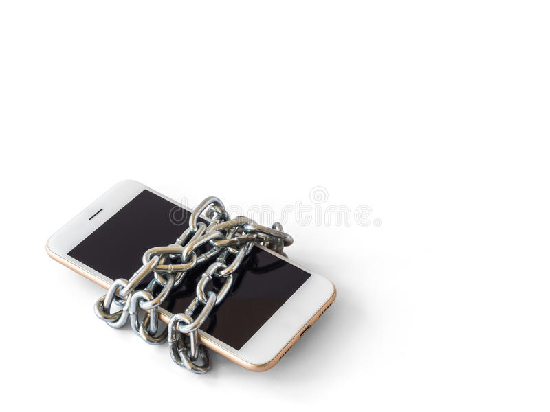 Mobile phone with chain locked isolate. Modern mobile phone with chain locked isolate on white background with clipping path and copy space. Concept of social stock photos