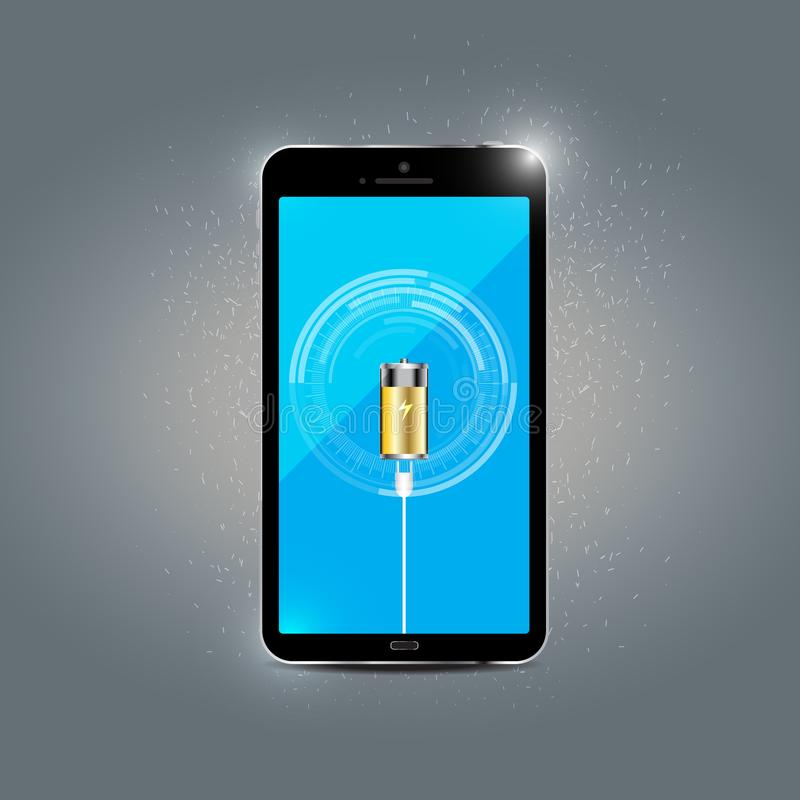 Mobile phone charging concept. Is a general illustration stock illustration