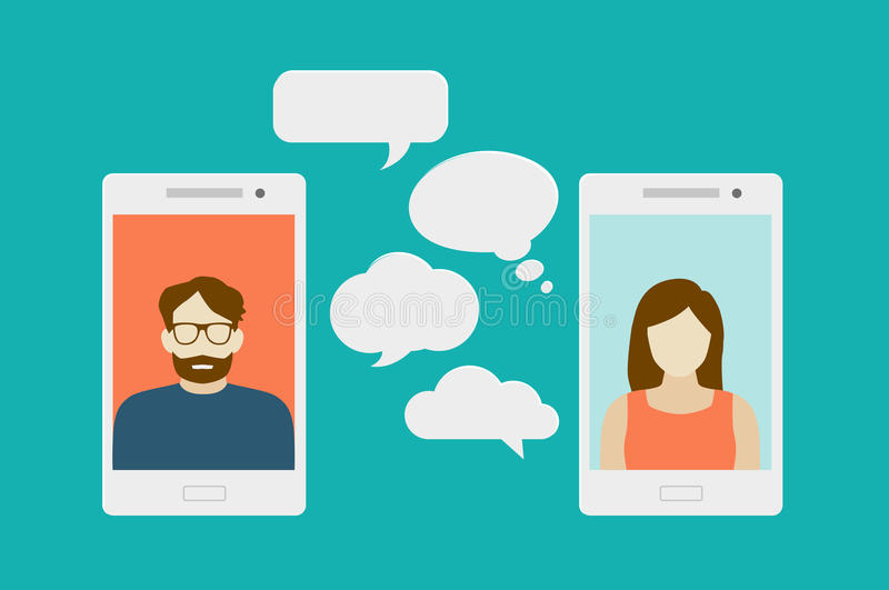 Mobile phone chat. Concept of a mobile chat or conversation of people via mobile phones. Can be used to illustrate globalization, connection, phone calls or stock illustration