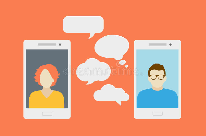 Mobile phone chat. Concept of a mobile chat or conversation of people via mobile phones. Can be used to illustrate globalization, connection, phone calls or royalty free illustration