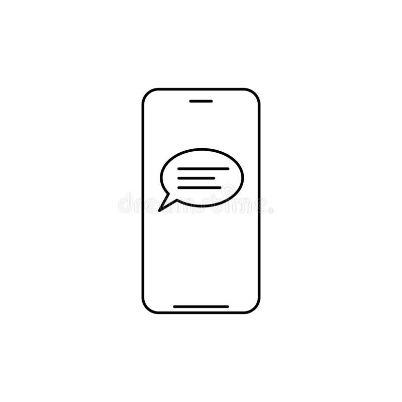 Mobile phone chat message line icon. linear style sign for mobile concept and web design. Smartphone and speech bubble outline royalty free illustration