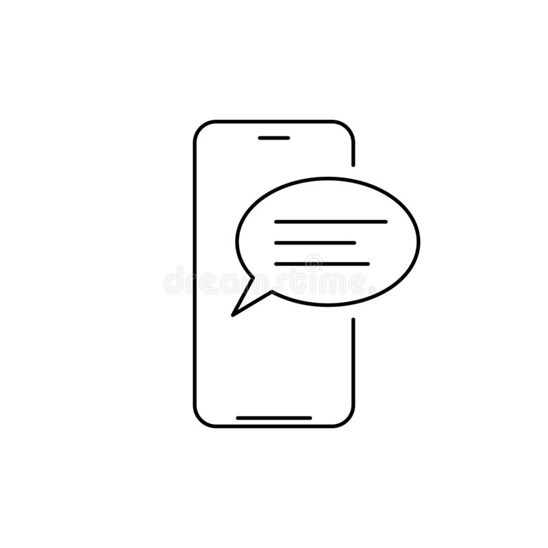 Mobile phone chat message line icon. linear style sign for mobile concept and web design. Smartphone and speech bubble outline vector illustration