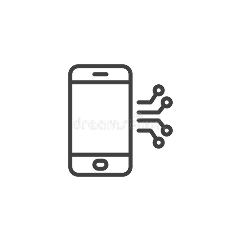 Mobile phone circuit line icon. Linear style sign for mobile concept and web design. Smartphone repair outline vector icon. Symbol, logo illustration. Vector royalty free illustration