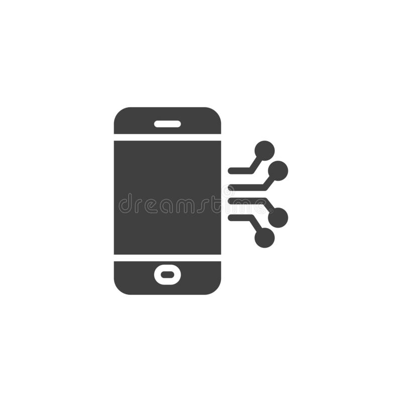 Mobile phone circuit vector icon. Filled flat sign for mobile concept and web design. Smartphone repair glyph icon. Symbol, logo illustration. Vector graphics stock illustration