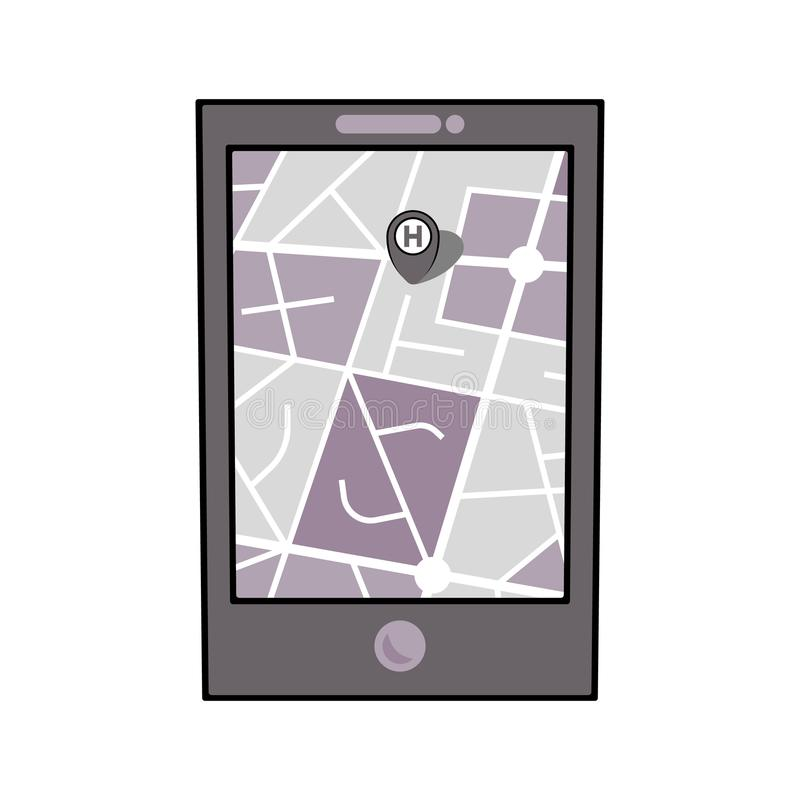 Mobile phone with city map royalty free illustration
