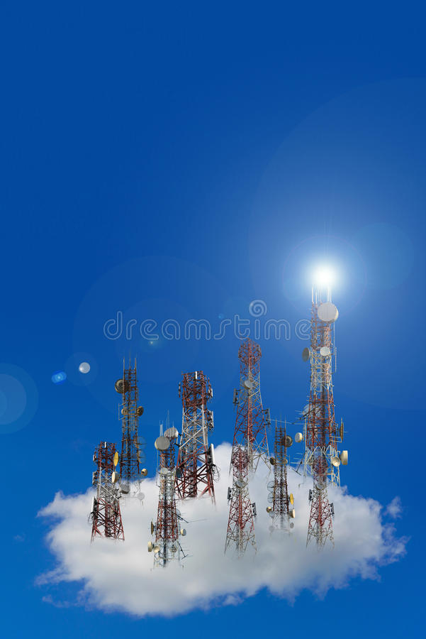 Mobile phone communication antenna tower with the blue sky and c. Louds, Telecommunication tower royalty free illustration