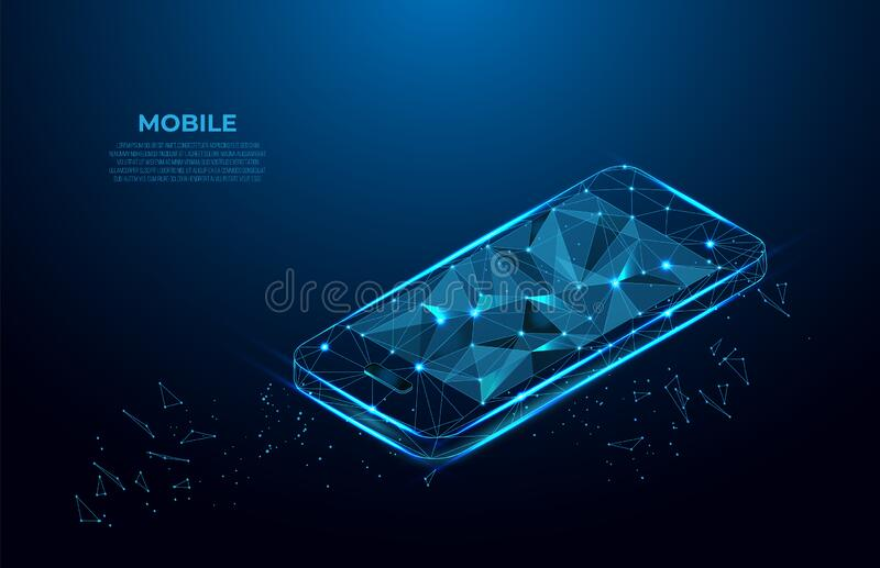Mobile phone. Communication app smartphone concept. Abstract Low-poly wireframe vector technology isometric illustration. Device s. Creen. Polygonal wireframe royalty free illustration