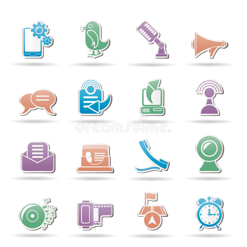Download Mobile Phone And Communication Icons Stock Vector - Image: 20487815
