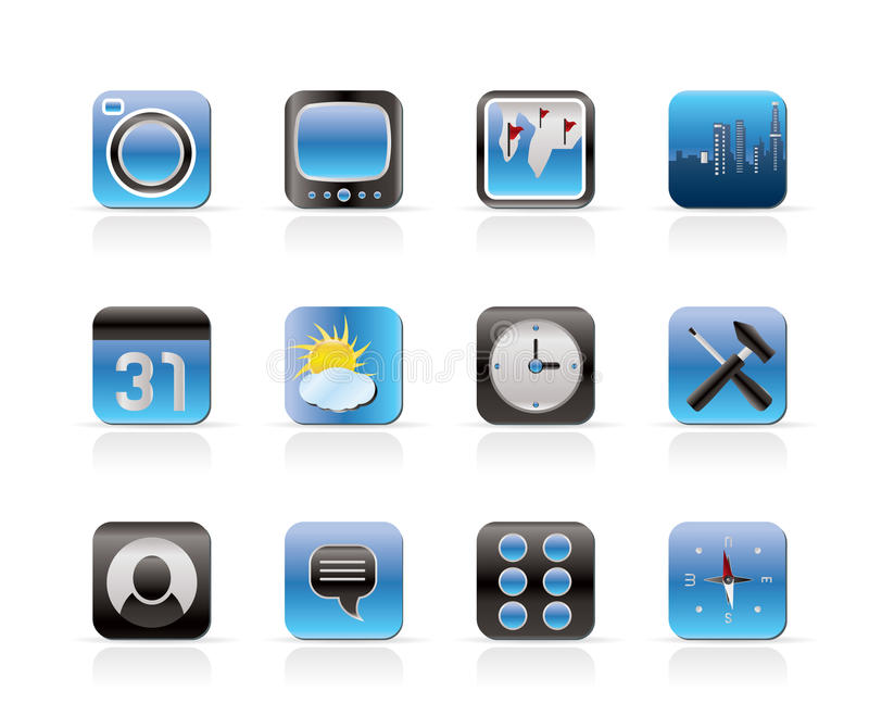 Mobile Phone and Computer icon. Vector Icon Set stock illustration