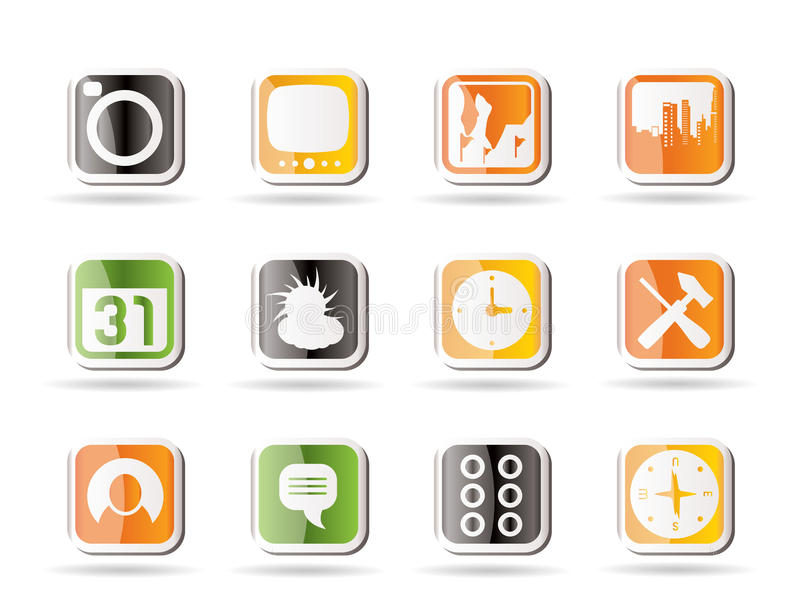 Mobile Phone and Computer icon. Vector Icon Set royalty free illustration