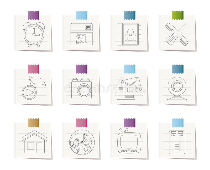 Mobile phone and computer icons. Icon set royalty free illustration