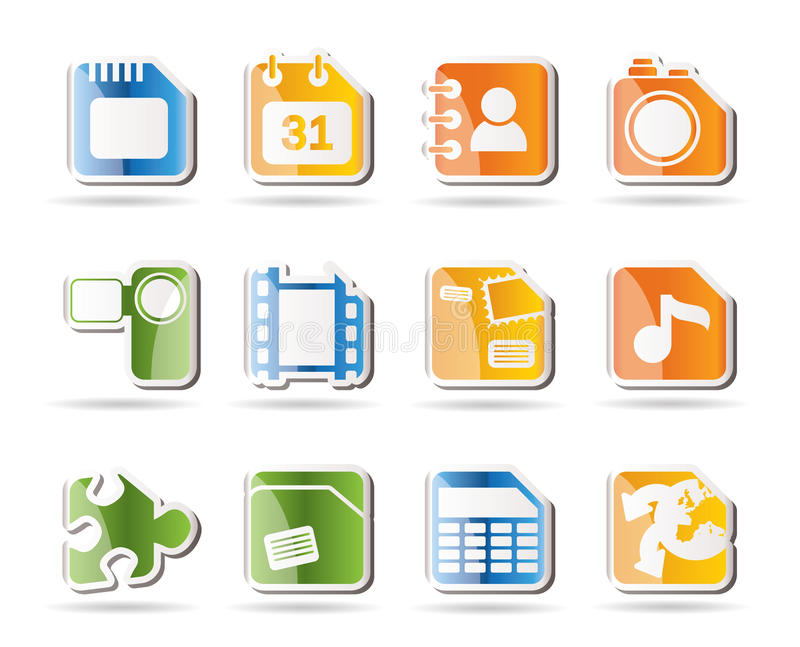 Mobile Phone, Computer and Internet Icons royalty free illustration