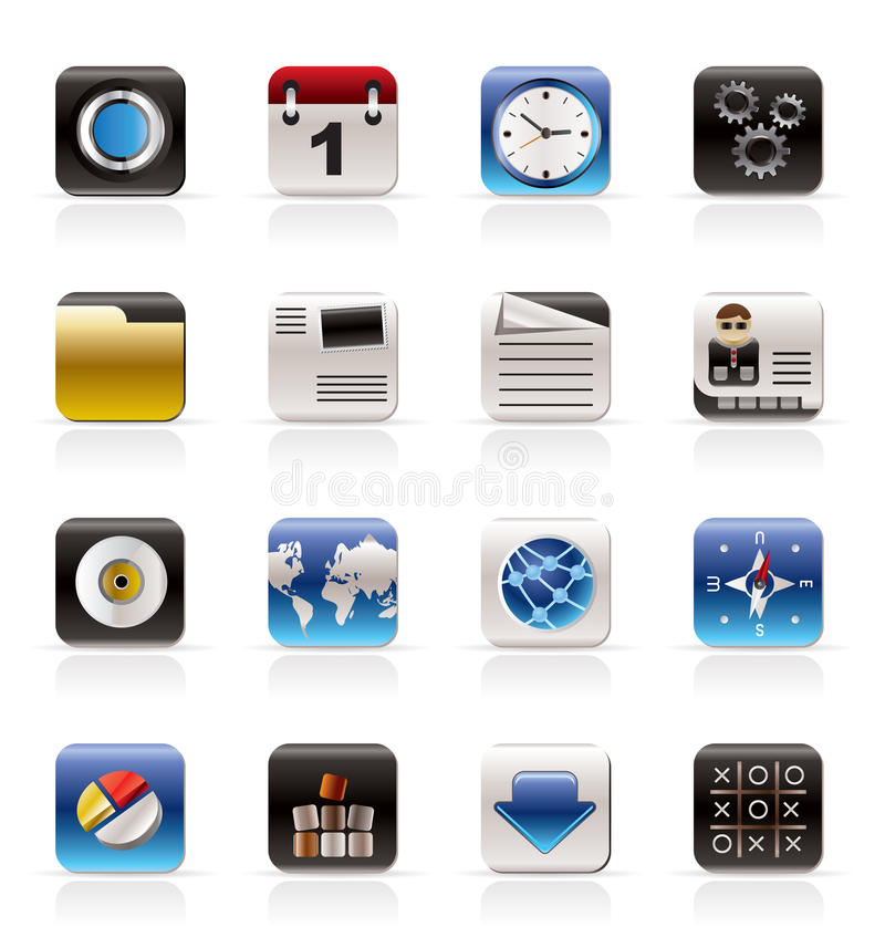 Mobile Phone, Computer and Internet Icons stock illustration