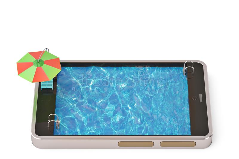 Mobile phone concept touchscreen smart phone with swimming pool. 3D illustration stock image