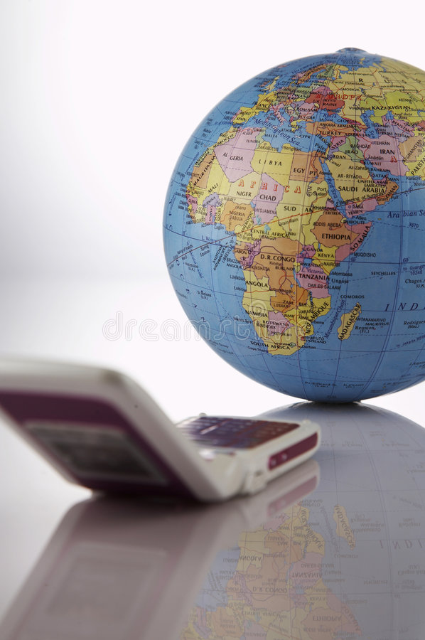 Mobile phone connect to the world. A mobile phone connect to the world royalty free stock images