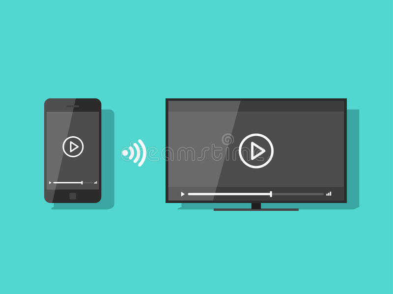 Mobile phone connected to TV streaming video vector illustration. Flat screen TV wireless connection with smartphone and share content stock illustration