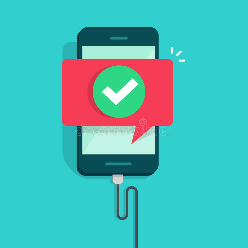 Mobile phone connected wire charger vector illustration, flat cartoon smartphone with checkmark or tick with success stock illustration