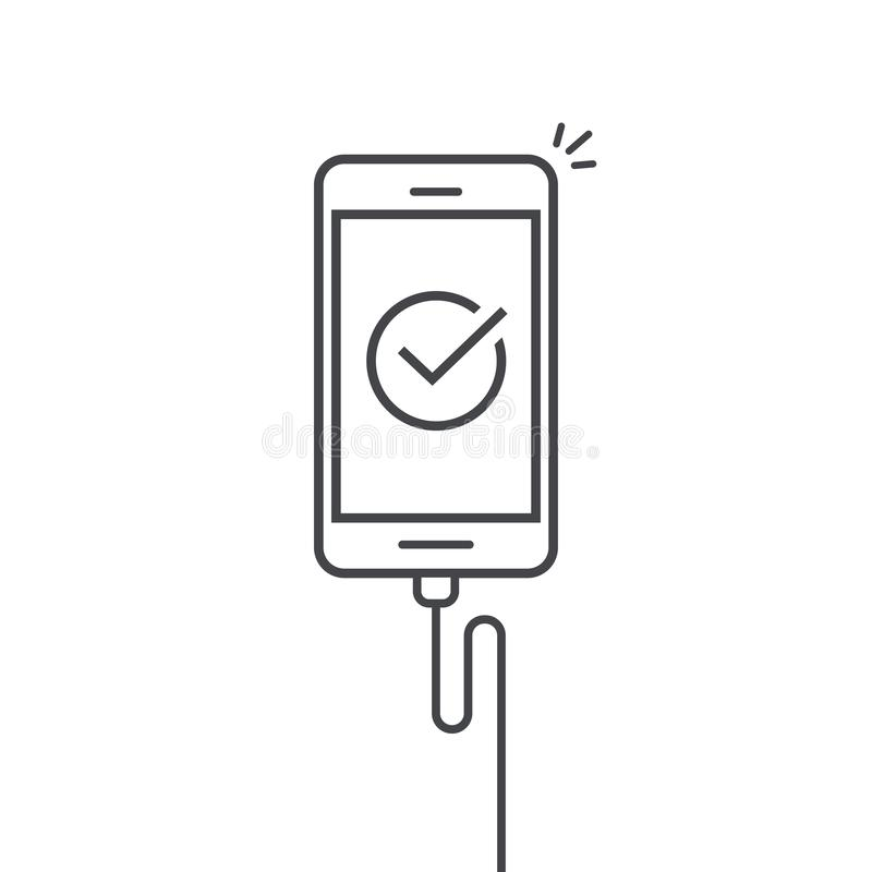 Mobile phone connected wire charger vector illustration, line outline art smartphone with checkmark or tick with success royalty free illustration