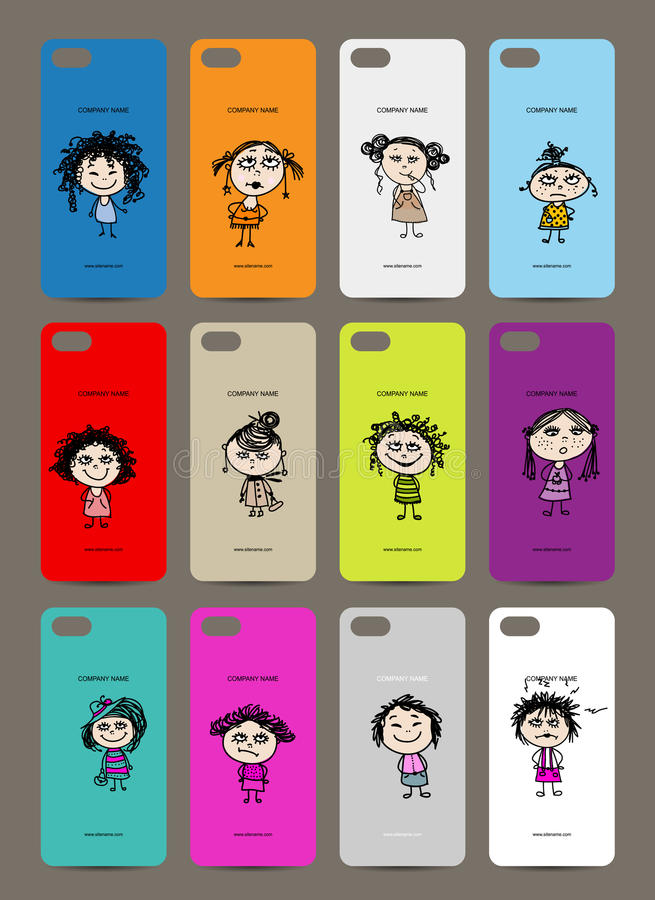 Mobile phone cover back , 12 funny girls for your stock illustration