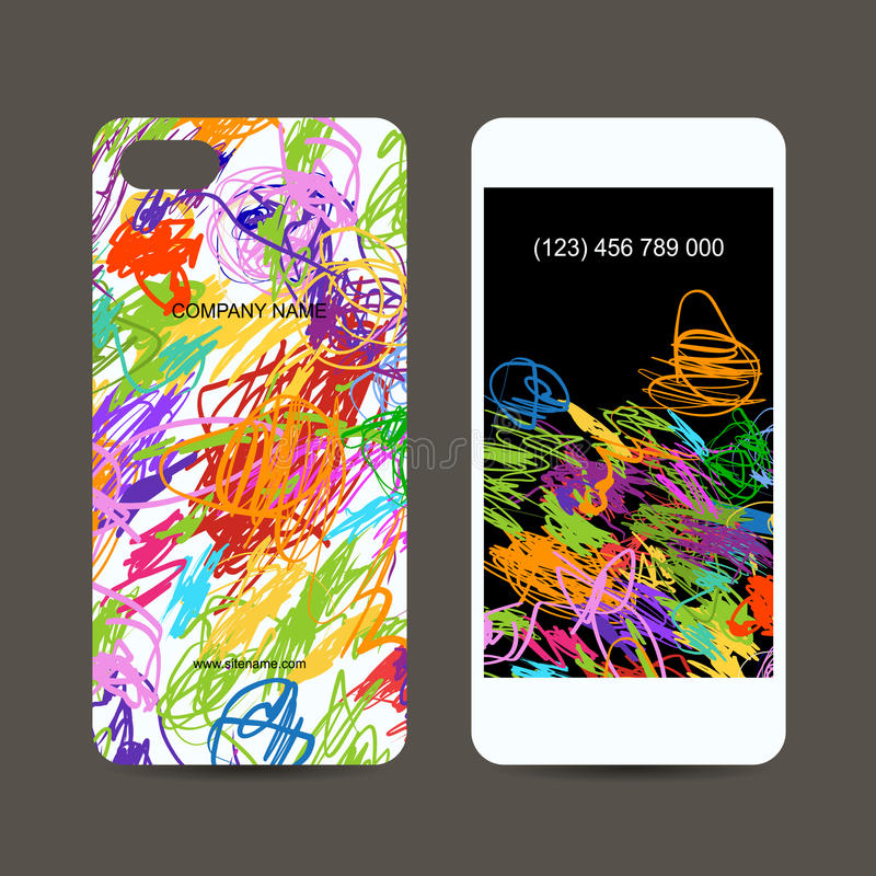 Download Mobile Phone Cover Back And Screen, Children Stock Vector - Image: 34448866
