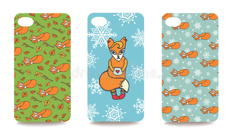 Mobile phone cover back set .Cute fox royalty free illustration