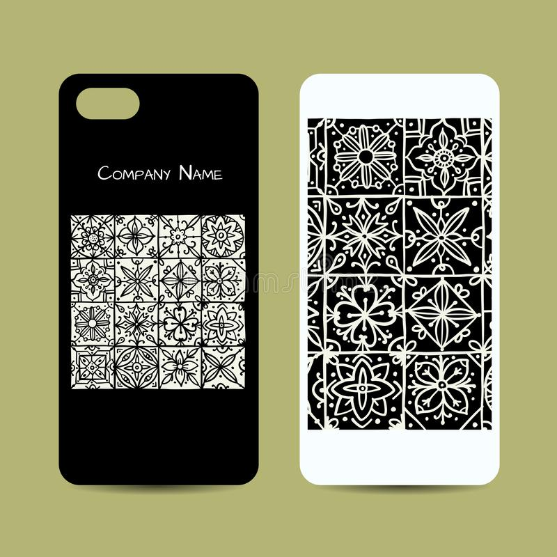Mobile phone cover design, ethnic vintage ornament stock illustration