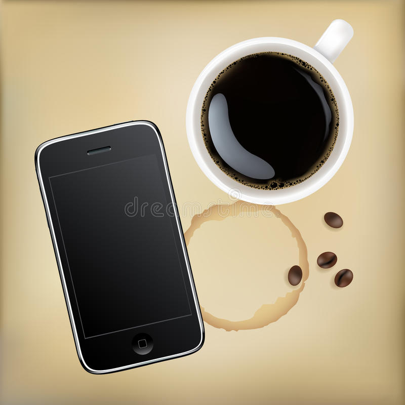 Mobile Phone With Cup Of Coffee vector illustration