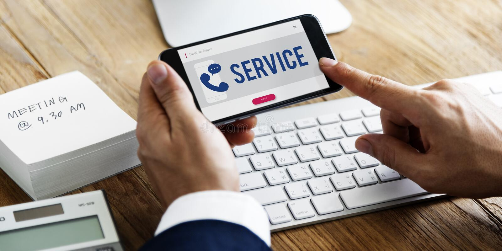 Mobile Phone Customer Service Concept stock image