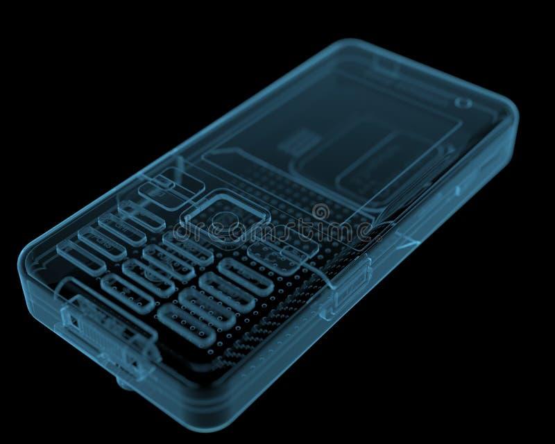 Mobile phone (3D xray blue transparent) stock photo