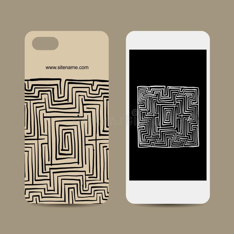 Mobile phone design, labyrinth square stock illustration