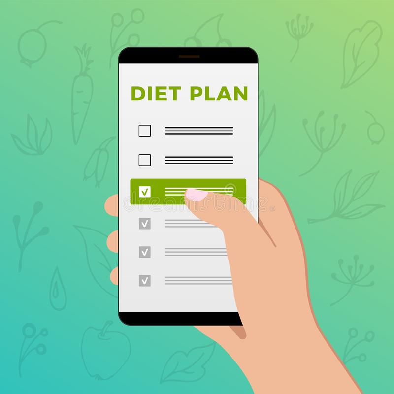 Mobile phone with diet plan in hand of a young woman. Checklist on the smartphone screen with healthy and natural plants. Mobile phone with diet plan in hand of vector illustration