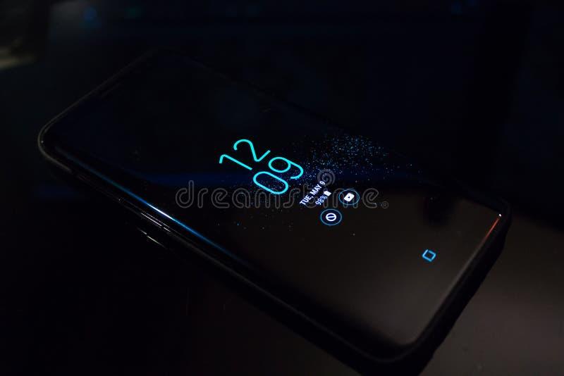 Mobile Phone Displaying Time