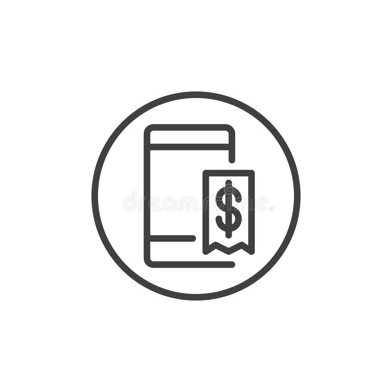 Mobile Phone With Dollar Invoice Line Icon Stock Vector - Mobile phone invoice