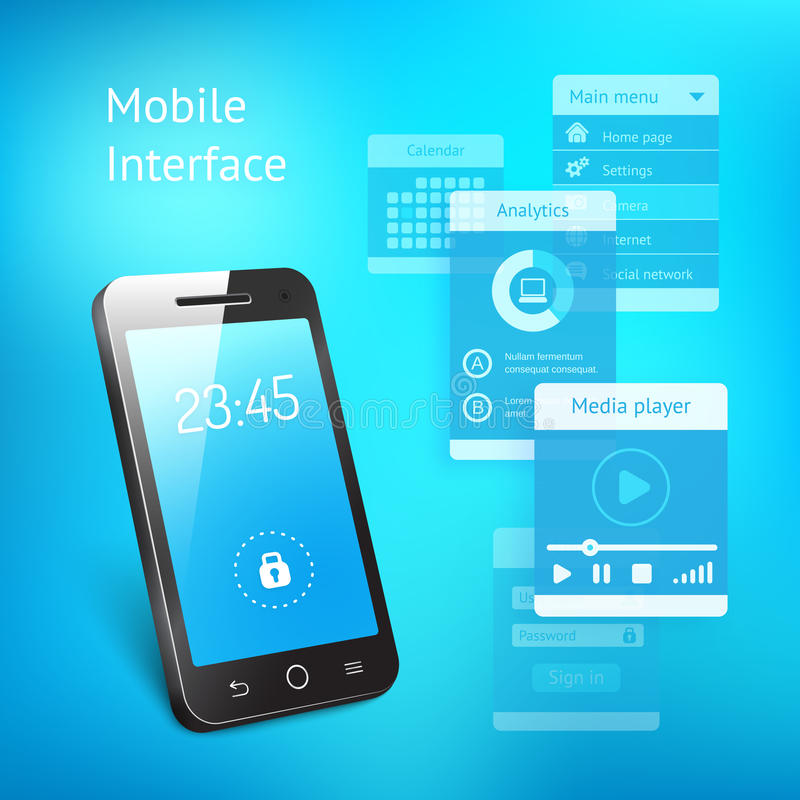 Mobile phone with elements for the user interface. 3d vector illustration of a modern smartphone or mobile phone with a blue screen showing the time and a lock stock illustration