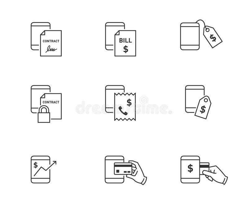 Mobile phone expense icons. Expense, price, money transaction and contract icons for mobile or smart phone royalty free illustration